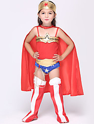 cheap -Super Heroes Cosplay Costume Flower Girl Dress Kid's Girls' A-Line Slip Cosplay Halloween Halloween Carnival Masquerade Festival / Holiday Polyster Red Carnival Costumes Patchwork / Leotard / Onesie