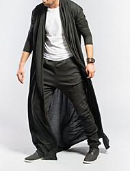 abordables -Homme Quotidien Basique Taille EU / US Longue Trench, Couleur Pleine Col en V Manches Courtes Polyester Noir / Gris