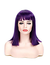 cheap -Synthetic Wig Straight Bob With Bangs Wig Short Bright Purple Synthetic Hair 12 inch Women's Elastic Party Women Purple