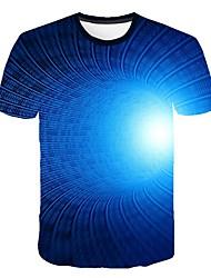 Недорогие -Муж. Графика 3D-печати Тонкие Футболка Круглый вырез Синий