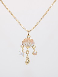 cheap -Women's Pendant Necklace Statement Necklace Geometrical Lucky Shell Statement Unique Design Trendy Modern Gold Plated Chrome Gold 42 cm Necklace Jewelry 1pc For Gift Carnival Holiday Prom Festival