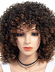cheap -Synthetic Wig Afro Curly Free Part Wig Medium Length Brown / Burgundy Synthetic Hair 18 inch Women's Women Synthetic For Black Women Dark Brown