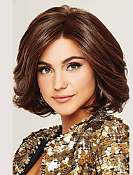 cheap -Costume Accessories Synthetic Wig kinky Straight Natural Wave Middle Part Wig Medium Length Brown / White Brown Synthetic Hair 14 inch Women's Fashionable Design Synthetic Middle Part Bob Brown