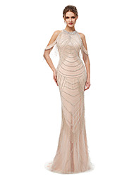 cheap -Mermaid / Trumpet Jewel Neck Court Train Tulle Elegant & Luxurious / See Through Formal Evening Dress 2020 with Beading / Sequin / Crystals