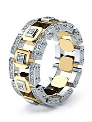 cheap -Men's Women's Ring 1pc Gold Silver Ring 1 Golden Ring 1 Imitation Diamond Alloy European Daily Jewelry Hollow Out Knife Edge