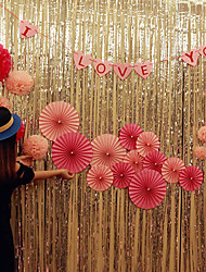 cheap -Metal Foil Edge Shiny Rain Curtain Birthday Party Wedding Decoration Photography Background Line Curtain
