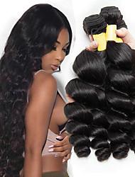 cheap -3 Bundles Brazilian Hair Wavy Loose Wave Unprocessed Human Hair 100% Remy Hair Weave Bundles Headpiece Natural Color Hair Weaves / Hair Bulk Bundle Hair 8-28 inch Natural Color Human Hair Weaves Odor