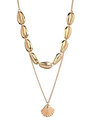 cheap -Women's Layered Necklace Double Layered Shell Puka Shell European Trendy Ethnic Fashion Chrome Gold Silver 42+7 cm Necklace Jewelry 1pc For Carnival Holiday Street Festival