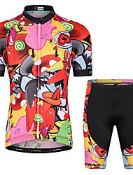 cheap -Malciklo Boys' Girls' Short Sleeve Cycling Jersey with Shorts - Kid's Red / Yellow Floral Botanical Bike Clothing Suit UV Resistant Breathable Moisture Wicking Quick Dry Reflective Strips Sports Lycra
