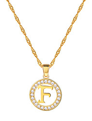 cheap -Women's Clear AAA Cubic Zirconia Pendant Necklace Necklace X Letter Simple Fashion 18K Gold Plated Brass Platinum Plated Gold Silver 55 cm Necklace Jewelry 1pc For Graduation Gift Daily School