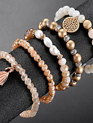 cheap -5pcs Women's Bead Bracelet Vintage Bracelet Earrings / Bracelet Layered Heart Flower Shape Classic Tassel Fashion Cute Elegant Imitation Pearl Bracelet Jewelry Champagne For Daily School Street