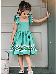cheap -Kids Girls' Active Cute Solid Colored Backless Ruffle Pleated Short Sleeve Above Knee Dress Green / Cotton / Lace up