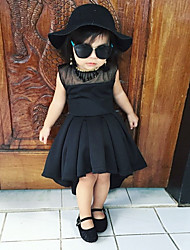 cheap -Kids Girls' Vintage Cute Solid Colored Cut Out Pleated Patchwork Sleeveless Above Knee Dress Black / Cotton