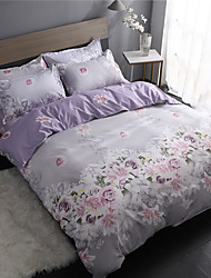 cheap -Duvet Cover Sets Floral / Contemporary Polyster Printed 4 PieceBedding Sets / 4pcs (1 Duvet Cover, 1 Flat Sheet, 2 Shams)