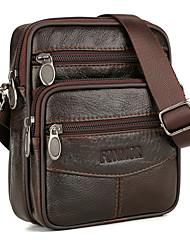 cheap -Men's Bags Cowhide Shoulder Messenger Bag Crossbody Bag Zipper Solid Color Daily MessengerBag Coffee