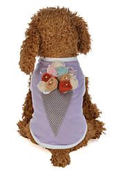 cheap -Dog Cat Vest Flower / Floral Ice Cream Stylish Ordinary Dog Clothes Purple Pink Costume Cotton S M L