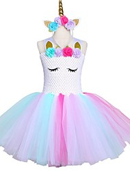 cheap -Pastel Unicorn Bustle Tutu Dresses Princess Children's Day Skirt Wear Headband