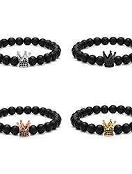 abordables -Bracelet à Perles Homme Femme Perlé Couronne Punk Bracelet Bijoux Noir Argent Or Rose Circulaire pour Mariage