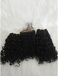 Недорогие -Волосы для кос Кудрявый Плетение Натуральные волосы 3 предмета косы волос Черный 14 дюймовый 14 дюймы Удлинитель Молодежный Свидание Малазийские волосы