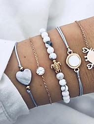 cheap -5pcs Men's Women's Layered Bead Bracelet Vintage Bracelet Bracelet Set Heart Turtle Natural Punk Casual / Sporty Bracelet Jewelry Gold For School Street