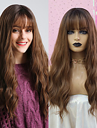 cheap -Synthetic Wig Natural Wave Deep Wave Neat Bang Wig Very Long Brown Black / Brown Synthetic Hair 26 inch Women's Waterfall Fashionable Design Synthetic Brown BLONDE UNICORN / Ombre Hair