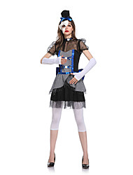 cheap -Magician Dress Cosplay Costume Adults' Female Dresses Halloween Halloween Carnival Masquerade Festival / Holiday Terylene Black Female Carnival Costumes Patchwork Checkered / Gingham