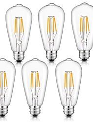 abordables -6pcs 4 W Ampoules à Filament LED 360 lm E26 / E27 ST64 4 Perles LED COB Intensité Réglable Blanc Chaud Blanc Froid Blanc Naturel 220-240 V