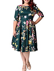 cheap -Women's Plus Size Elegant A Line Dress - Floral Print Black Green XXL XXXL XXXXL XXXXXL
