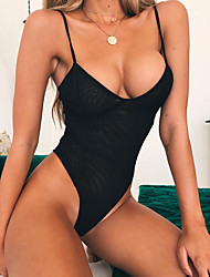 cheap -Women's Basic Black Halter Cheeky One-piece Swimwear - Solid Colored Backless S M L Black