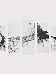 cheap -Print Rolled Canvas Prints Stretched Canvas Prints - Birds Fantasy Vintage Modern Five Panels Art Prints