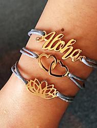 cheap -3pcs Women's Wrap Bracelet Loom Bracelet Pendant Bracelet Layered Heart Flower Letter Simple European Trendy Casual / Sporty Cord Bracelet Jewelry Light Blue For Daily Street Holiday Work