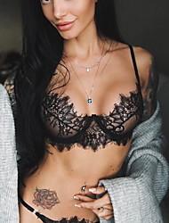 cheap -Women's Wireless Lace Bras Padless 3/4 Cup Bras & Panties Sets Sexy Black