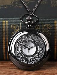 Недорогие -Муж. Карманные часы Кварцевый Черный С гравировкой Повседневные часы Крупный циферблат Аналоговый Мода Скелет - Черный