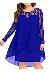 cheap -Women's Tunic Dress Lace Chiffon Fashion Spring Blue Black Red L XL XXL