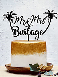 cheap -Cake Topper Floral Theme / Classic Theme / Creative Personalized / Romantic Acrylic Wedding / Party Evening with Solid 1 pcs OPP