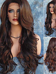 cheap -Synthetic Wig Curly Wavy Side Part Wig Long Brown / Burgundy Synthetic Hair 30 inch Women's Women Synthetic Romantic Brown(non-lace)