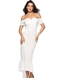 cheap -Mermaid / Trumpet Elegant Sexy Prom Formal Evening Dress Off Shoulder Short Sleeve Asymmetrical Floor Length Stretch Satin with Ruffles 2020
