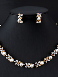 cheap -Women's Bridal Jewelry Sets Link / Chain Flower Botanical Dainty Fashion Cute Bridal Imitation Pearl Earrings Jewelry Silver / Gray / Dark Coffee For Wedding Party Engagement Gift 1 set