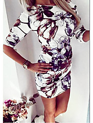 cheap -Women's White Dress Bodycon S M