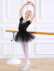 cheap -Kids' Dancewear / Ballet Dresses / Leotards Girls' Training / Performance Cotton / Lace Scattered Crystals Style / Lace / Split Joint Short Sleeve Natural Dress