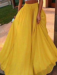 cheap -Women's Vacation / Street chic Maxi Swing Skirts - Solid Colored Chiffon Black Yellow Wine L XL XXL