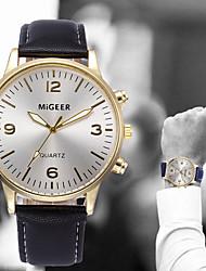 cheap -Men's Wrist Watch Quartz Leather Black / Blue / Brown Chronograph Casual Watch Analog Bangle Fashion - Black / White Light Blue Golden+Black One Year Battery Life