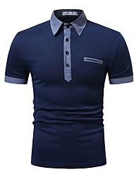 cheap -Men's Polo Shirt Collar White / Blue / Navy Blue