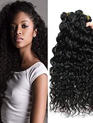 Недорогие -3 Связки Бразильские волосы Волнистые человеческие волосы Remy 150 g Человека ткет Волосы Пучок волос Накладки из натуральных волос 8-28 дюймовый Естественный цвет Ткет человеческих волос