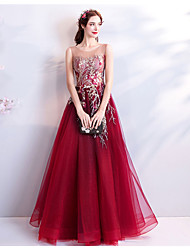 cheap -A-Line Jewel Neck Floor Length Tulle Elegant Formal Evening / Wedding Party Dress 2020 with Sequin / Appliques