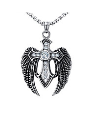 cheap -Men's Cubic Zirconia Pendant Necklace Classic Cross Fashion Stainless Steel Silver 60 cm Necklace Jewelry 1pc For Daily Street
