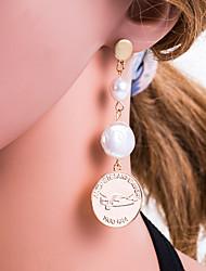 cheap -Women's Multicolor Drop Earrings Geometrical European Pearl Earrings Jewelry Gold / Silver For Daily 1 Pair