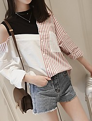 cheap -Women's Cotton Loose Shirt - Striped / Color Block Patchwork Shirt Collar Blue