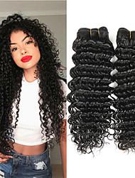cheap -3 Bundles Brazilian Hair Deep Wave Unprocessed Human Hair Natural Color Hair Weaves / Hair Bulk Bundle Hair Human Hair Extensions 8-28 inch Natural Color Human Hair Weaves Soft Fashion Thick Human