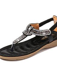 cheap -Women's PU(Polyurethane) Summer Sweet Sandals Flat Heel Open Toe Rhinestone Black / Silver / Pink
